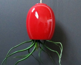 SALE - large red hanging airplant pod planter (tm)