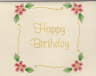 Handmade Pin Prick Embroidery Scroll with Flowers Birthday Card