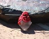 Fluorite octahedron and Tigers eye reversible Pendant