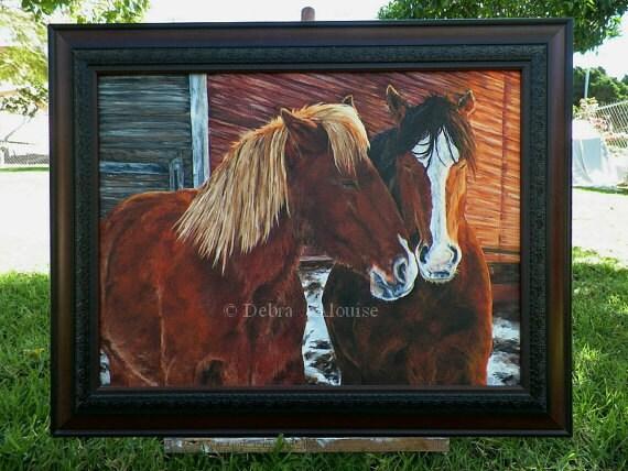 Kindness of Horses Winter Cuddle Original Oil Painting Horse Barn Portrait Farm Animal Horses by Artist Debra Alouise