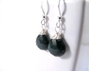 Faceted Emerald Sterling Silver Gemstone Drop Earrings May Birthstone