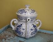 Unusual Blue AVON Teapot.
