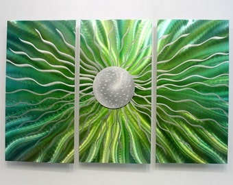 Green & Silver Contemporary Metal Wall Sculpture - Bright Floral Fantasy Abstract Painting - Modern Wall Decor - Emerald Vision by Jon Allen