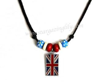 UK United Kingdom British Flag Necklace for Men boys guys Black Suede Lace Enamel Charm with Wood Beads British Invasion Red White Blue