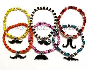 Mustache Charm Bracelet. Moustache Party Favor Name Bracelet. Colorful Bracelets
