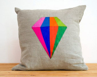 Diamond Silk and Linen Colorful Pillow  14 inches HUGE SALE