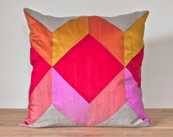 """Geometric Cube Throw Pillow in Warm - 20"""" Color Block Pillow - Optical Illusion LAST ONE!"""