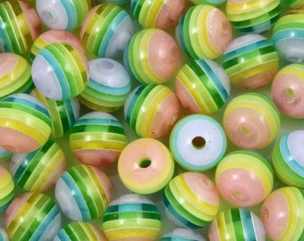 8mm Rainbow Pastel Stripe Lucite Bead (15 Pcs) #659