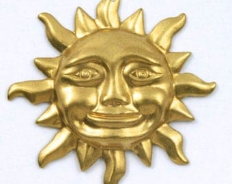 32mm Raw Brass Smiling Sun (2 Pieces) #179
