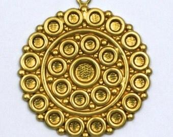 38mm Raw Brass Concentric Circle Pendant #44