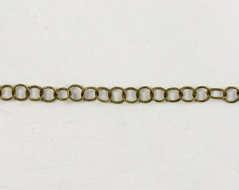 Antique Brass, 4mm Round Cable Chain #CC46