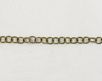 Antique Brass, 4mm Round Cable Chain CC46