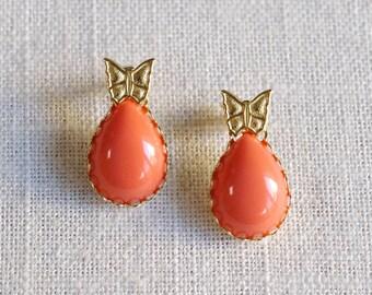 helena // butterfly stud earrings . coral butterfly earrings . gold butterfly earrings . nature inspired jewelry