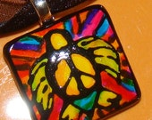 Sea Turtle Rainbow peace out Jewelry Hand Painted ARt pendant
