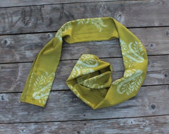silk cotton blend pale olive green thistles scarf