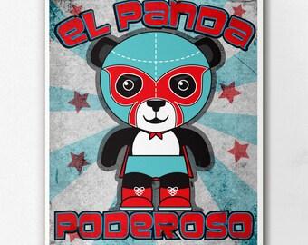 Luchamals El Panda Poderoso Wall Art Print