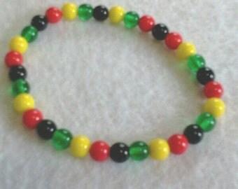 Reggae Bracelet, Rasta Colors, Colorful Glass Bead Bracelet, Stretch Style, Mens or Womens Bracelet, No Metal Components