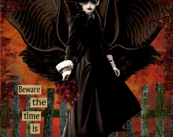 witch halloween goth steampunk collage art altered art digital print digital download cauldron bats purple black fantasy