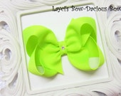 Custom Neon Lime Hair Bow, small, medium, large, extra large, Choose your Style, boutique, pinwheel, tails down, classic