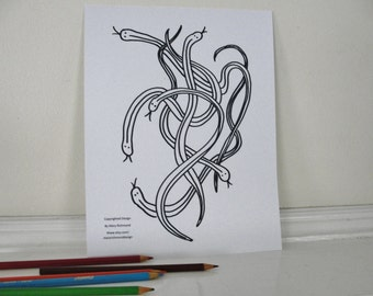 Printable Coloring Page, Silly Snakes Coloring Page for Adults and Children, Downloadable PDF File