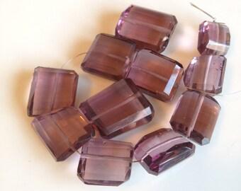Mauve smoky purple hydro Quartz step cut nuggets, Full strand, 11-18mm