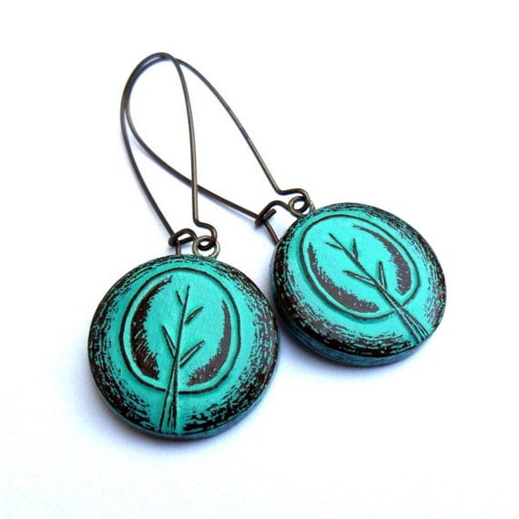 Turquoise Tree Dangle Earrings, Retro Tree Drop Earrings, Rustic Tree Earrings, Turquoise Tree Jewelry, Tree of Life Earrings, Gift for Her