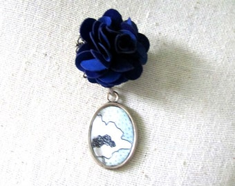Blue Flower Brooch Pin , Flower Brooch, Decorative Pin, Flower Pin, Mixed Media Jewelry , Whimsical Jewelry