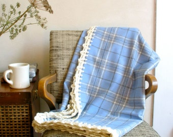 Sale! Plaid Wool Throw in Periwinkle Blue & Grey w/ White Merino Crocheted Edge