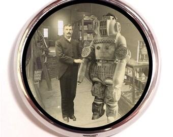 Steampunk Robot & Man Pill box Pill Case Holder Pillbox Victorian Era 1890's Robot Factory