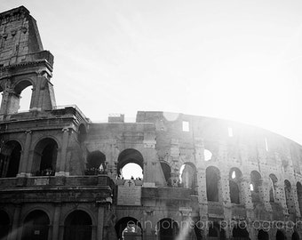 rome italy photography, europe, architecture, ancient amphitheater, black and white photography, ruins, The Colosseum R03