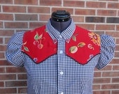 upcycled women's blouse/shirt western long size L black check red contrast
