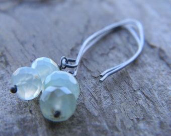 luminous seafoam chalcedony dangle earrings - oxidized silver