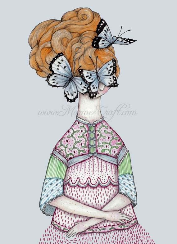 """Butterfly girl art print, """"With Whisper Hush"""""""