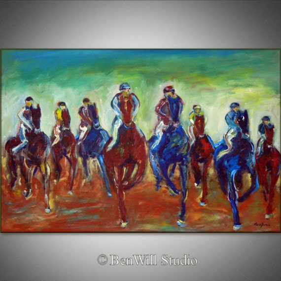Large HORSE RACE Oil Painting ORIGINAL Horse Art - Horses Running - 36 x 24  by BenWill