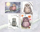 Set of 4 Owl Prints - 5 x 7 size Owl Prints of Original Illustrations by Molly Harrison