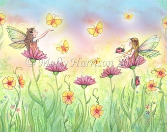Sisters - Cute Fairy Fantasy Art Watercolor Giclee Print by Molly Harrison 9 x 12