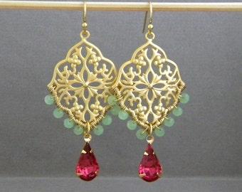 Fuschia Rose Pink Teardrop Gold Filigree Seafoam Green Chandelier Earrings