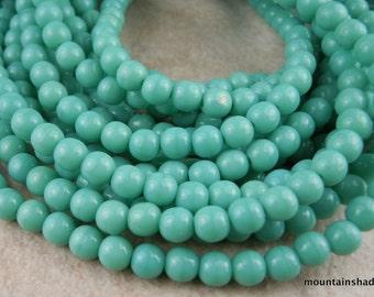 4mm Czech Glass Beads Opaque Turquoise Druk - 100 (G - 393)