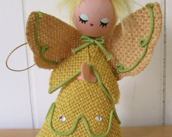 vintage burlap angel ornament Dakin
