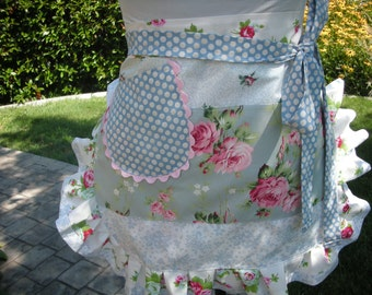 Womens Aprons - Shabby Chic Aprons - Apron with Pink Roses - French Flea Market Aprons - Annies Attic Aprons - Etsy Aprons - Blue Aprons -