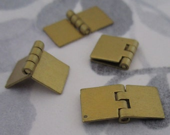 12 pcs. vintage raw brass small hinges 16x8mm - f2979