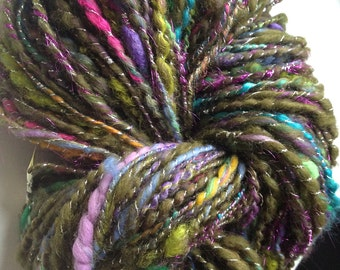 Art Yarn Handspun - GARDEN PARTY- Textured art yarn, bulky,crochet, knitting, weaving supplies, craft supplies, doll hair 116yds