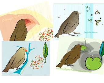 Darwin's Finches cute evolution biology prints Nerdy Baby