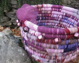BERRY CHRISTMAS textile art BASKET bucket tub  with Bells