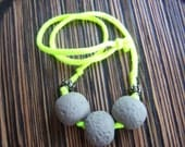 Upcycled T shirt necklace Neon Yellow