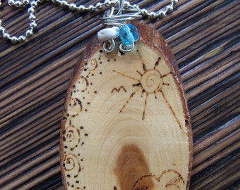 Wood Burned Necklace Beach Theme