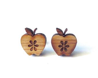 Fresh Apple Earrings. Apple Earrings. Wood Earrings. Stud Earrings. Laser Cut Earrings. Gifts For Mom. Gifts For Her. Gifts Under 20. Apple.