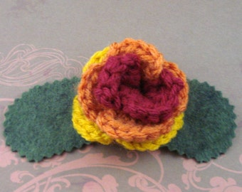 Crocheted Rose Barrette - Serenity (SWG-HB-SE01)