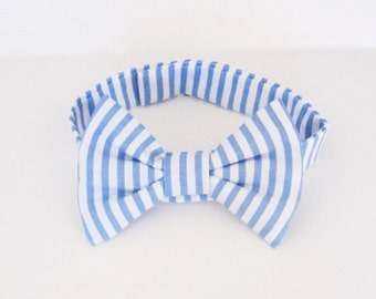 Cat or Dog Bow Tie Baby Blue and White Stripes XS S M L XL