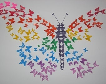 Rainbow 3D Butterfly Wall Art -Celebrate Diversity